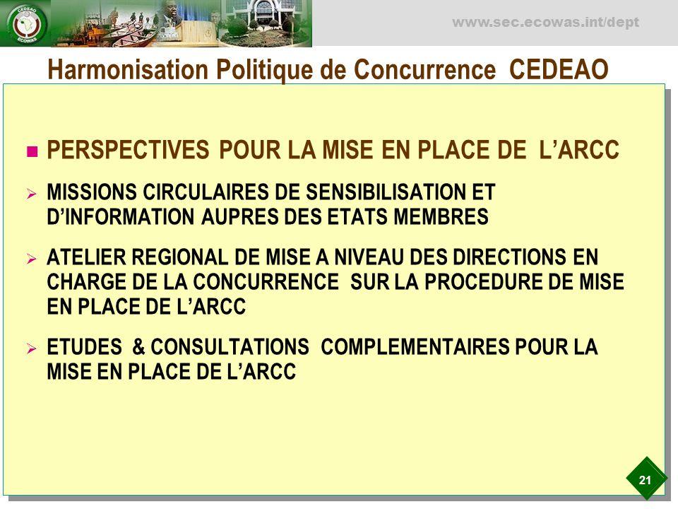 21 www.sec.ecowas.int/dept Harmonisation Politique de Concurrence CEDEAO PERSPECTIVES POUR LA MISE EN PLACE DE LARCC MISSIONS CIRCULAIRES DE SENSIBILI