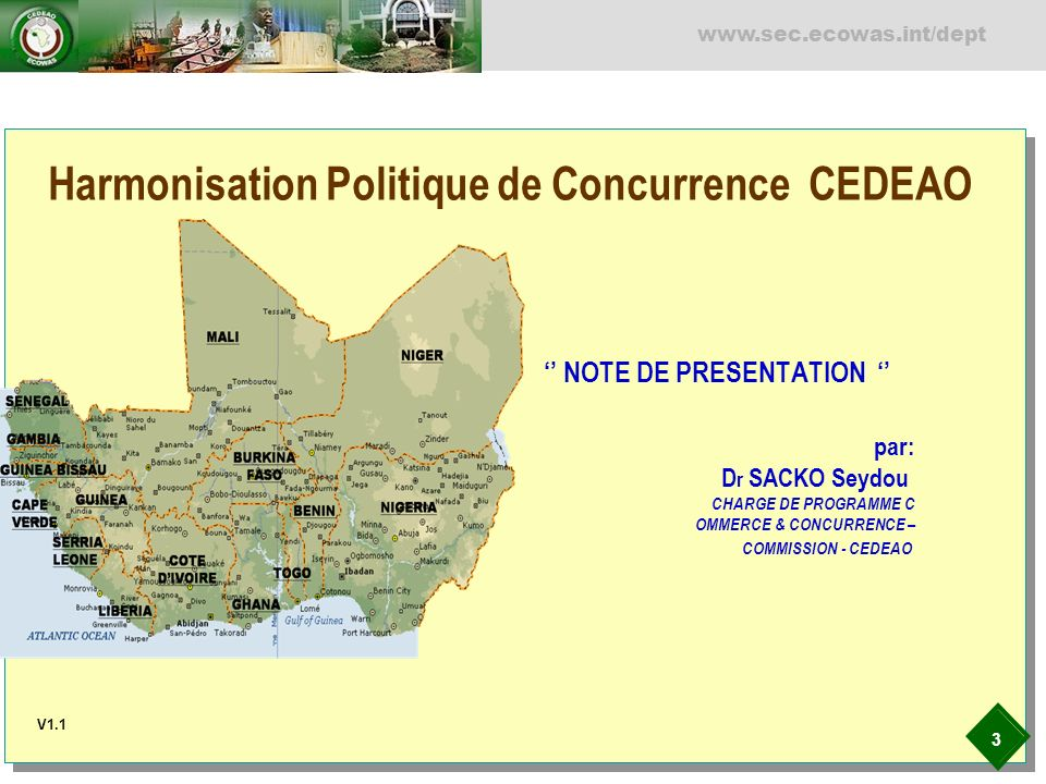 4 www.sec.ecowas.int/dept Harmonisation Politique de Concurrence CEDEAO PRESENTATION INTRODUCTION FONDEMENT ET JUSTIFICATION DOCUMENTS DE BASE ET LEGISLATION CADRE REGIONAL DE POLITIQUE DE CONCURRENCE ACTE ADDITIONNEL SUR LES REGLES COMMUNAUTAIRES DE LA CONCURRENCE ACTE ADDITIONNEL SUR LAUTORITE REGIONALE DE LA CONCURRENCE (ARCC) RELATIONS INSTITIONNELLES COUR DE JUSTICE COMMISSION DE LUEMOA COOPERATION INTERNATIONALE & INTERREGIONALE CONCLUSION