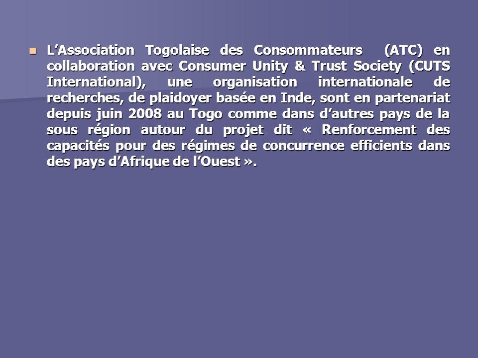 Données du projet Pays couverts – Burkina Faso, Gambie, Ghana, Mali, Nigeria, Sénégal et Togo ( partenaire : Association Togolaise des Consommateurs) Pays couverts – Burkina Faso, Gambie, Ghana, Mali, Nigeria, Sénégal et Togo ( partenaire : Association Togolaise des Consommateurs) Durée du projet – 24 mois Durée du projet – 24 mois Composantes – Recherche, dialogue et Plaidoyer, Réseautage et communication, formation, diffusion et information Composantes – Recherche, dialogue et Plaidoyer, Réseautage et communication, formation, diffusion et information Approche– Plaidoyer appuyée par la recherche et adoption dune approche participative et inclusive Approche– Plaidoyer appuyée par la recherche et adoption dune approche participative et inclusive Bénéficiaires – Société civile, représentants dorganismes publics, entités administratives, et milieu des affaires Bénéficiaires – Société civile, représentants dorganismes publics, entités administratives, et milieu des affaires