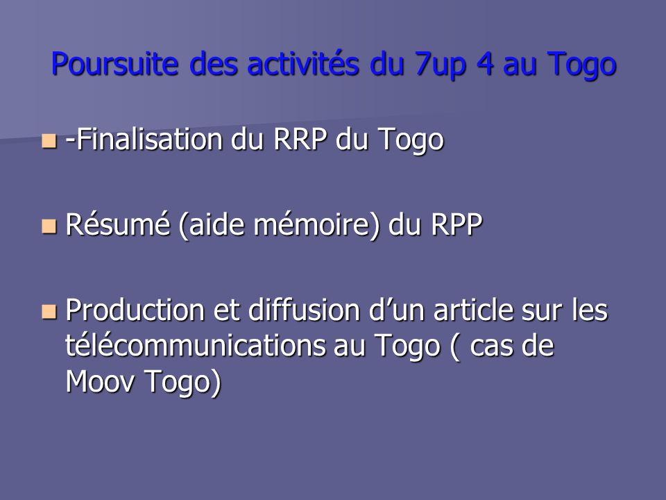 Poursuite des activités du 7up 4 au Togo -Finalisation du RRP du Togo -Finalisation du RRP du Togo Résumé (aide mémoire) du RPP Résumé (aide mémoire) du RPP Production et diffusion dun article sur les télécommunications au Togo ( cas de Moov Togo) Production et diffusion dun article sur les télécommunications au Togo ( cas de Moov Togo)