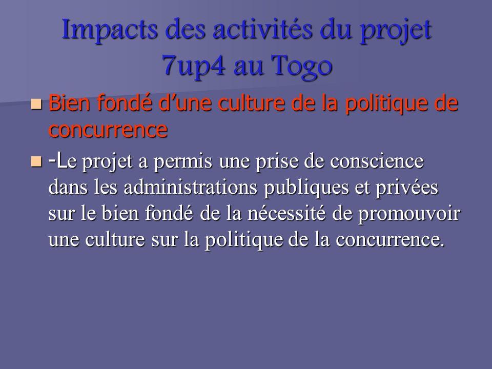 Impacts des activités du projet 7up4 au Togo Bien fondé dune culture de la politique de concurrence Bien fondé dune culture de la politique de concurrence -L e projet a permis une prise de conscience dans les administrations publiques et privées sur le bien fondé de la nécessité de promouvoir une culture sur la politique de la concurrence.