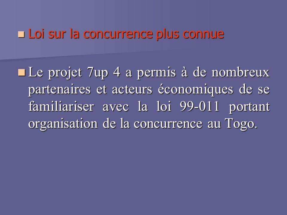 Loi sur la concurrence plus connue Loi sur la concurrence plus connue Le projet 7up 4 a permis à de nombreux partenaires et acteurs économiques de se familiariser avec la loi 99-011 portant organisation de la concurrence au Togo.