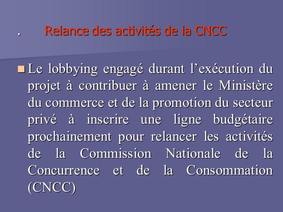 . Relance des activités de la CNCC Le lobbying engagé durant lexécution du projet à contribuer à amener le Ministère du commerce et de la promotion du secteur privé à inscrire une ligne budgétaire prochainement pour relancer les activités de la Commission Nationale de la Concurrence et de la Consommation (CNCC) Le lobbying engagé durant lexécution du projet à contribuer à amener le Ministère du commerce et de la promotion du secteur privé à inscrire une ligne budgétaire prochainement pour relancer les activités de la Commission Nationale de la Concurrence et de la Consommation (CNCC)