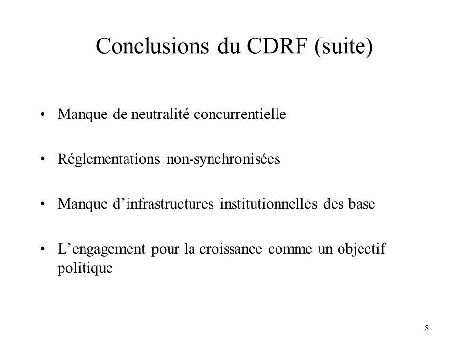 8 Conclusions du CDRF (suite) Manque de neutralité concurrentielle Réglementations non-synchronisées Manque dinfrastructures institutionnelles des base Lengagement pour la croissance comme un objectif politique