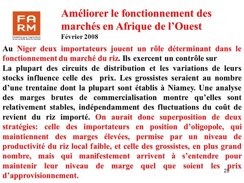 25 Au Niger deux importateurs jouent un rôle déterminant dans le fonctionnement du marché du riz. Ils exercent un contrôle sur La plupart des circuits