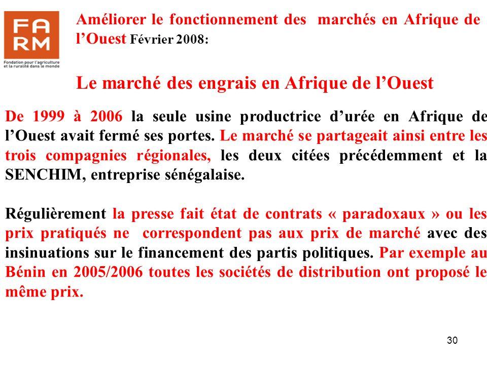 30 De 1999 à 2006 la seule usine productrice durée en Afrique de lOuest avait fermé ses portes. Le marché se partageait ainsi entre les trois compagni