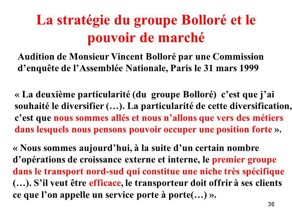 36 La stratégie du groupe Bolloré et le pouvoir de marché Audition de Monsieur Vincent Bolloré par une Commission denquête de lAssemblée Nationale, Pa