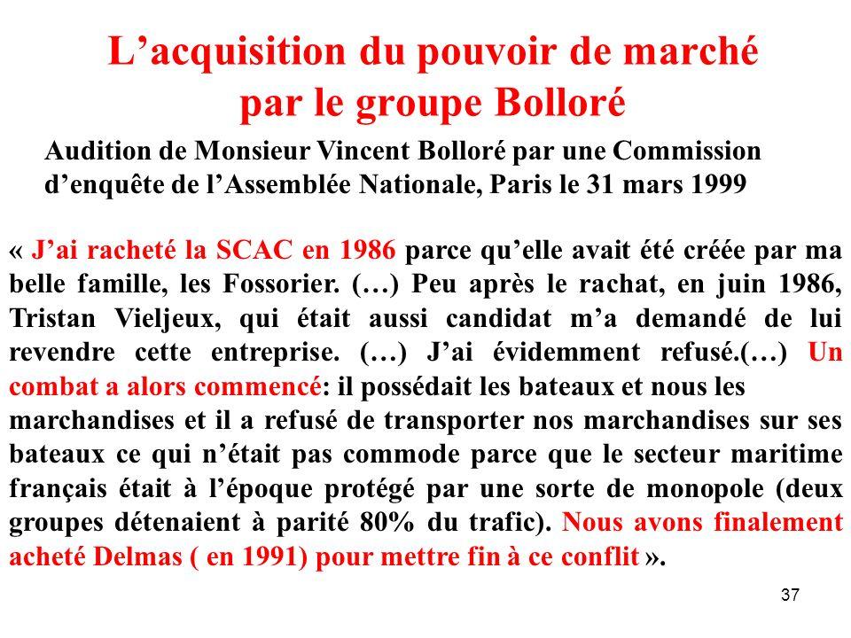 37 Lacquisition du pouvoir de marché par le groupe Bolloré Audition de Monsieur Vincent Bolloré par une Commission denquête de lAssemblée Nationale, P