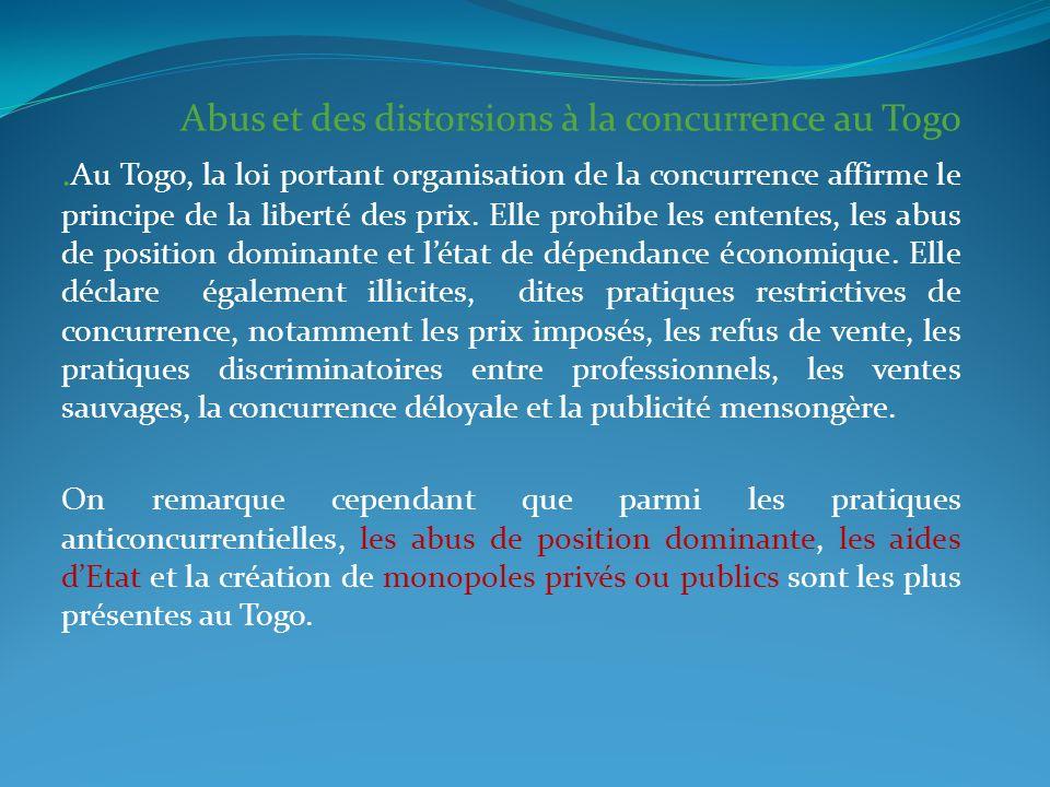 Abus et des distorsions à la concurrence au Togo.