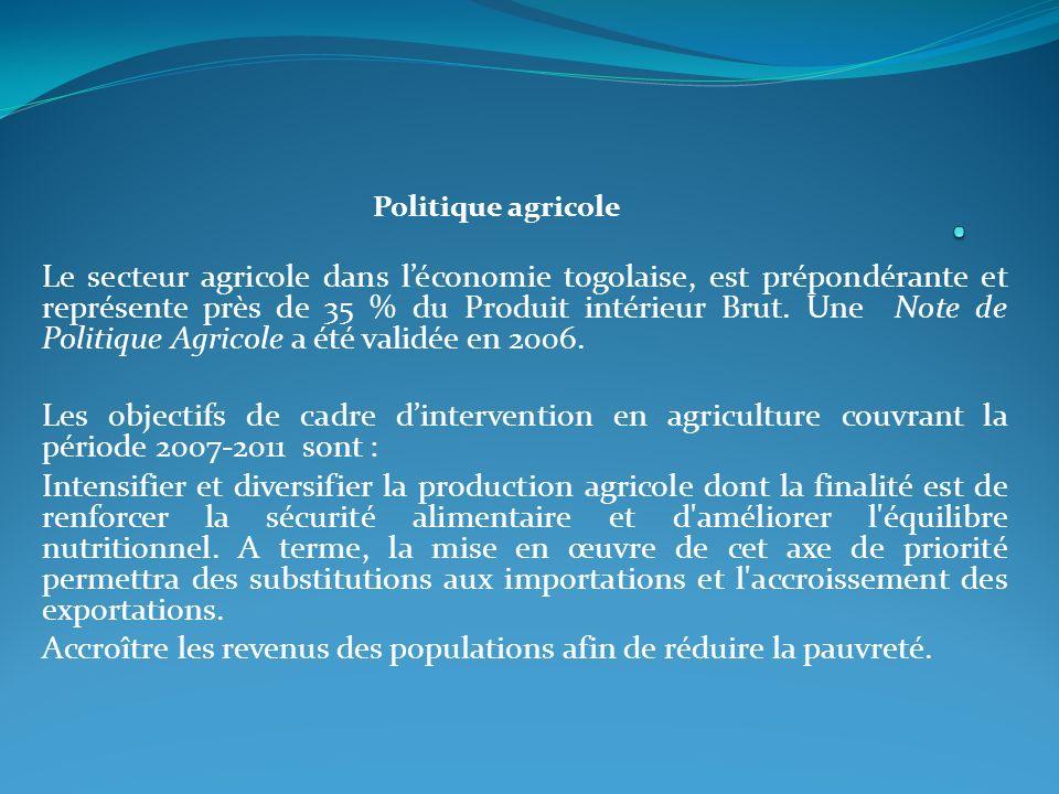 Politique agricole Le secteur agricole dans léconomie togolaise, est prépondérante et représente près de 35 % du Produit intérieur Brut.