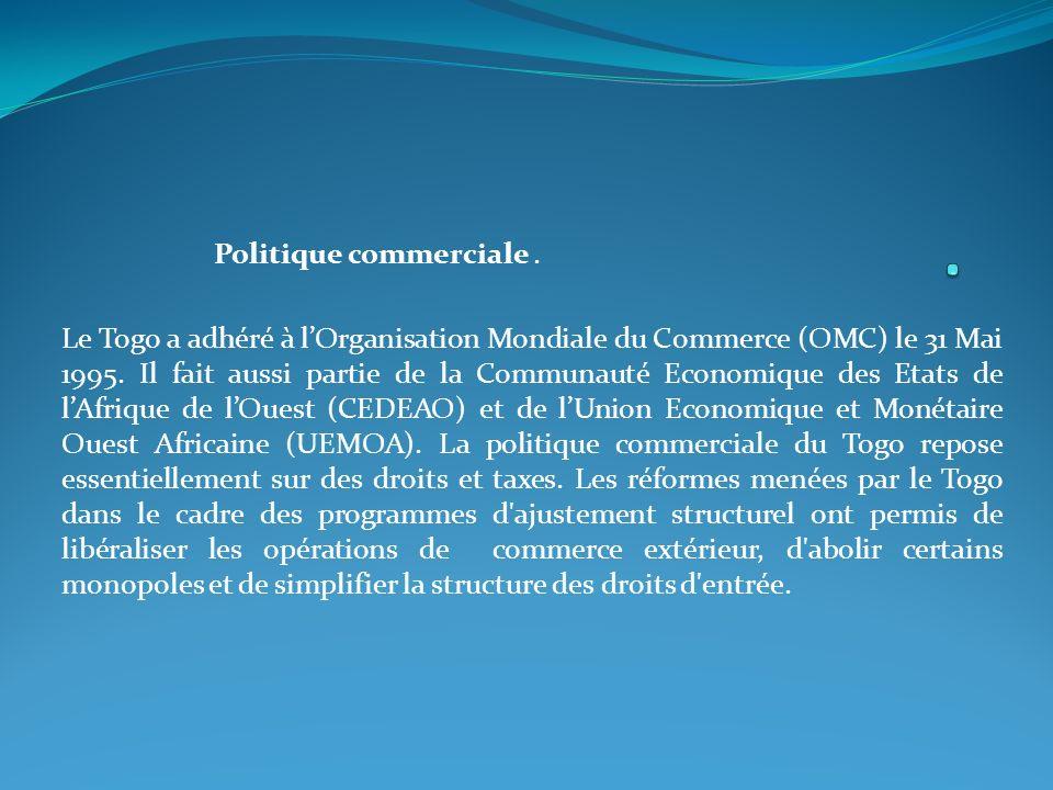 Politique commerciale.Le Togo a adhéré à lOrganisation Mondiale du Commerce (OMC) le 31 Mai 1995.