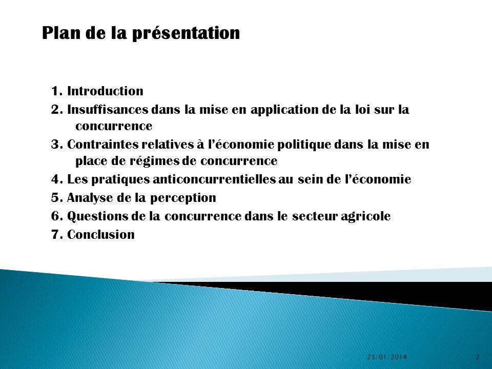 1. Introduction 2. Insuffisances dans la mise en application de la loi sur la concurrence 3. Contraintes relatives à léconomie politique dans la mise