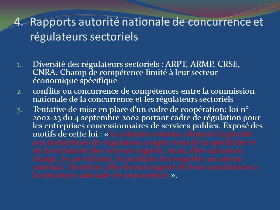 4.Rapports autorité nationale de concurrence et régulateurs sectoriels 1. Diversité des régulateurs sectoriels : ARPT, ARMP, CRSE, CNRA. Champ de comp
