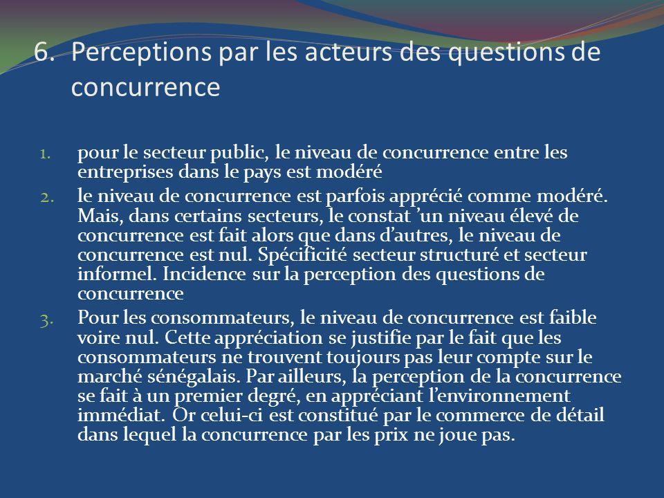 6.Perceptions par les acteurs des questions de concurrence 1. pour le secteur public, le niveau de concurrence entre les entreprises dans le pays est