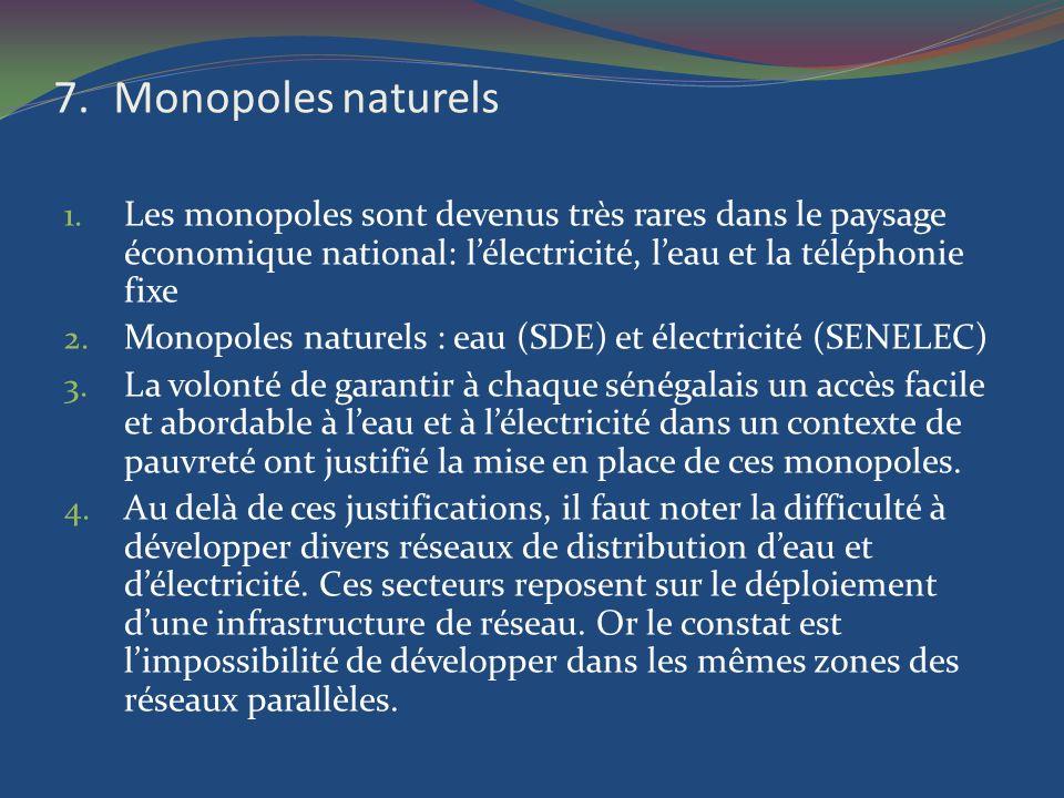 7.Monopoles naturels 1. Les monopoles sont devenus très rares dans le paysage économique national: lélectricité, leau et la téléphonie fixe 2. Monopol