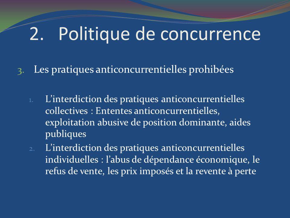 2.Politique de concurrence 3. Les pratiques anticoncurrentielles prohibées 1. Linterdiction des pratiques anticoncurrentielles collectives : Ententes