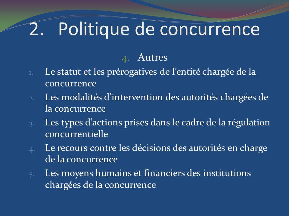 2.Politique de concurrence 4. Autres 1. Le statut et les prérogatives de lentité chargée de la concurrence 2. Les modalités dintervention des autorité