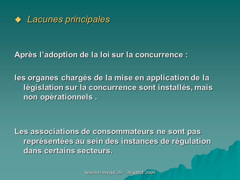 Réunion Banjul 29 - 30 juillet 2009 Lacunes principales Lacunes principales Après ladoption de la loi sur la concurrence : les organes chargés de la mise en application de la législation sur la concurrence sont installés, mais non opérationnels.