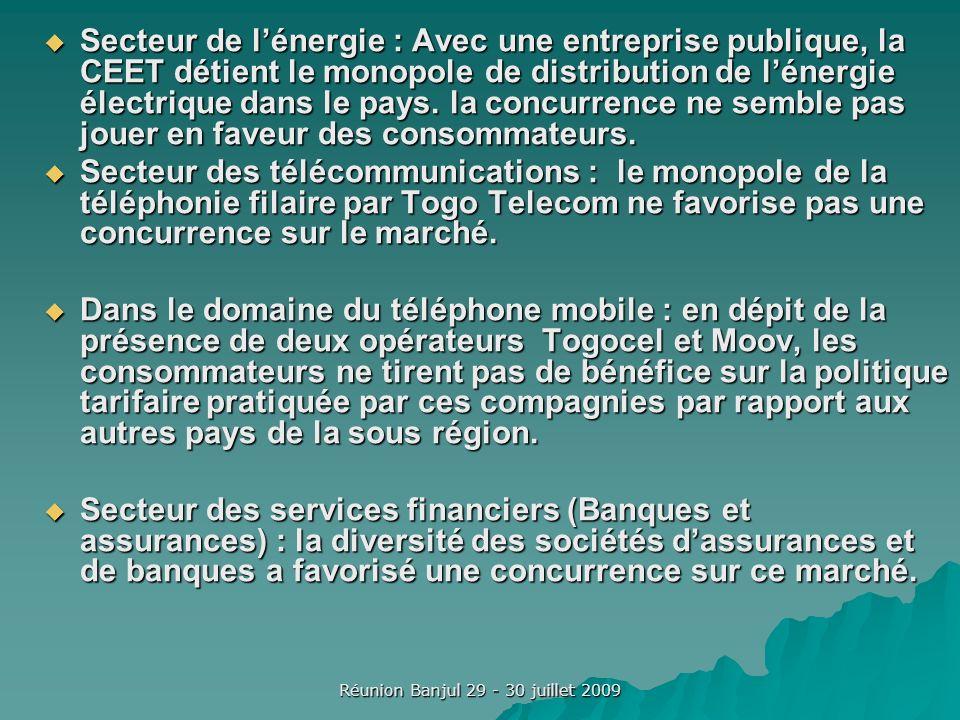 Réunion Banjul 29 - 30 juillet 2009 Lexistence de potentielles barrières à lentrée : Les réformes menées par le Togo depuis la fin des années 1980 ont contribué à libéraliser substantiellement les opérations de commerce extérieur et abolir certains monopoles.