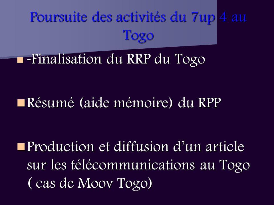Poursuite des activités du 7up 4 au Togo - Finalisation du RRP du Togo - Finalisation du RRP du Togo Résumé (aide mémoire) du RPP Résumé (aide mémoire) du RPP Production et diffusion dun article sur les télécommunications au Togo ( cas de Moov Togo) Production et diffusion dun article sur les télécommunications au Togo ( cas de Moov Togo)