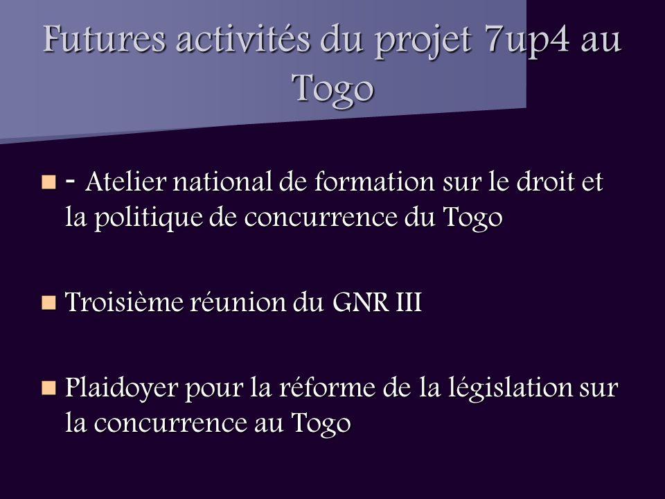 Futures activités du projet 7up4 au Togo - Atelier national de formation sur le droit et la politique de concurrence du Togo - Atelier national de formation sur le droit et la politique de concurrence du Togo Troisième réunion du GNR III Troisième réunion du GNR III Plaidoyer pour la réforme de la législation sur la concurrence au Togo Plaidoyer pour la réforme de la législation sur la concurrence au Togo