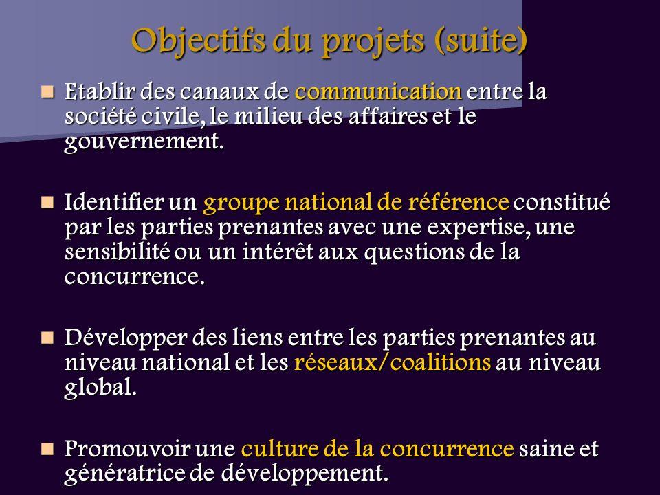 Objectifs du projets (suite) Etablir des canaux de communication entre la société civile, le milieu des affaires et le gouvernement.