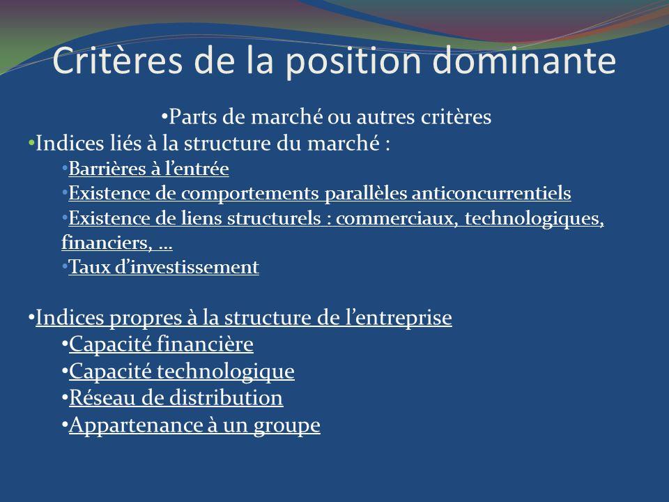 Critères de la position dominante Parts de marché ou autres critères Indices liés à la structure du marché : Barrières à lentrée Existence de comporte
