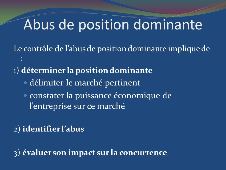 Abus de position dominante Le contrôle de labus de position dominante implique de : 1) déterminer la position dominante délimiter le marché pertinent
