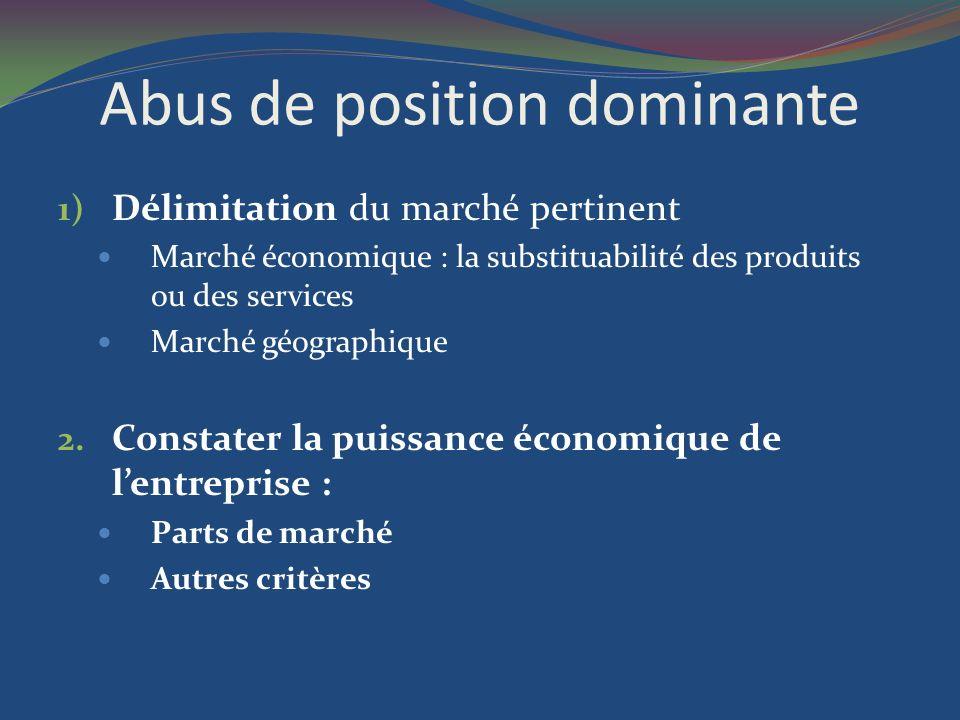 Abus de position dominante 1) Délimitation du marché pertinent Marché économique : la substituabilité des produits ou des services Marché géographique