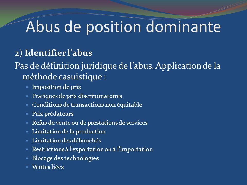 Abus de position dominante 2) Identifier labus Pas de définition juridique de labus. Application de la méthode casuistique : Imposition de prix Pratiq