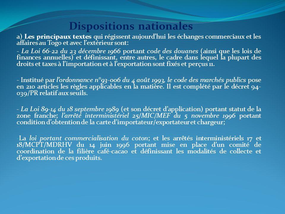 Dispositions nationales a) Les principaux textes qui régissent aujourdhui les échanges commerciaux et les affaires au Togo et avec lextérieur sont: -