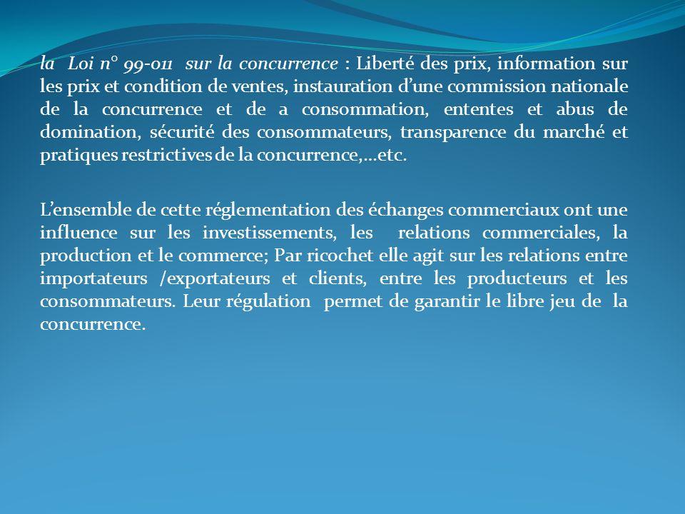 la Loi n° 99-011 sur la concurrence : Liberté des prix, information sur les prix et condition de ventes, instauration dune commission nationale de la