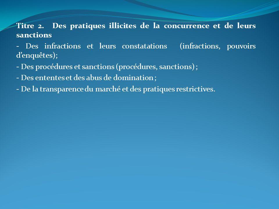 Titre 2. Des pratiques illicites de la concurrence et de leurs sanctions - Des infractions et leurs constatations (infractions, pouvoirs denquêtes); -