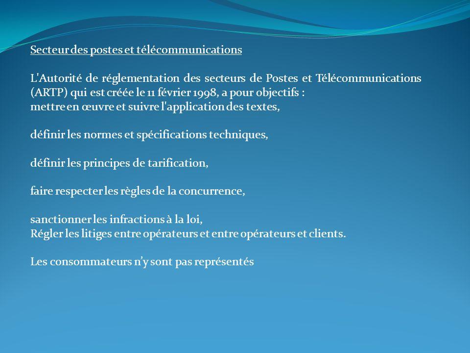 Secteur des postes et télécommunications L'Autorité de réglementation des secteurs de Postes et Télécommunications (ARTP) qui est créée le 11 février
