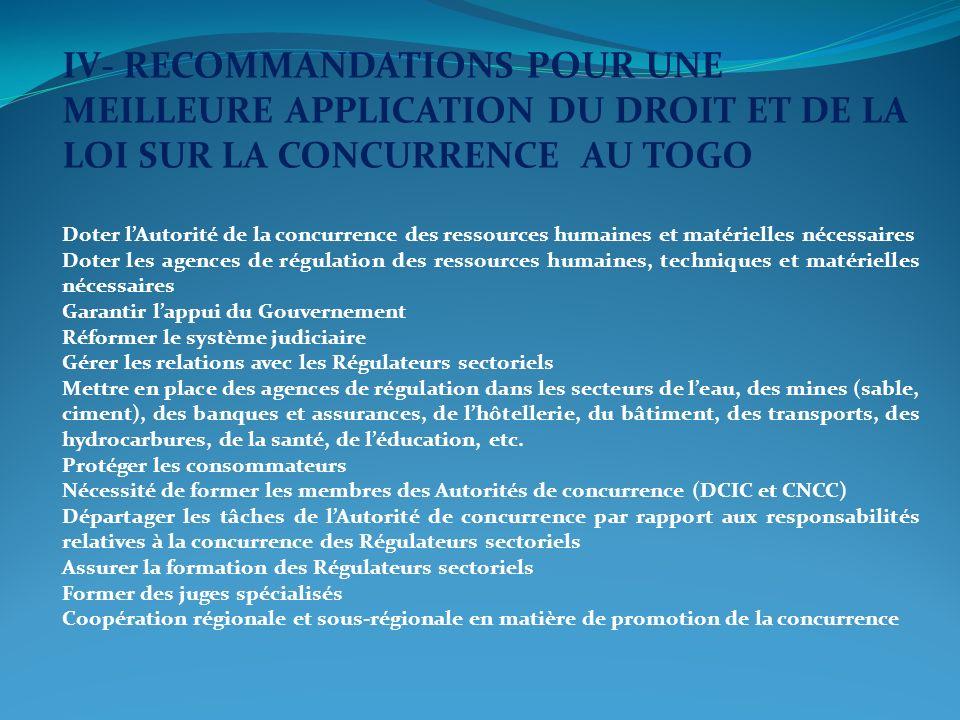 IV- RECOMMANDATIONS POUR UNE MEILLEURE APPLICATION DU DROIT ET DE LA LOI SUR LA CONCURRENCE AU TOGO Doter lAutorité de la concurrence des ressources h