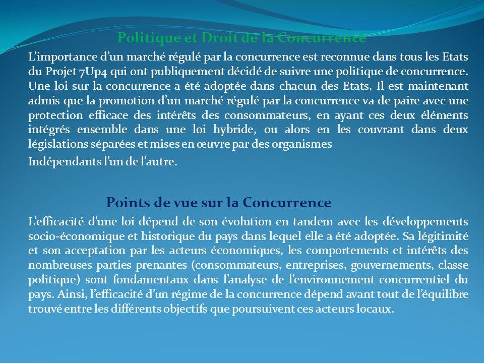 Politique et Droit de la Concurrence Limportance dun marché régulé par la concurrence est reconnue dans tous les Etats du Projet 7Up4 qui ont publique