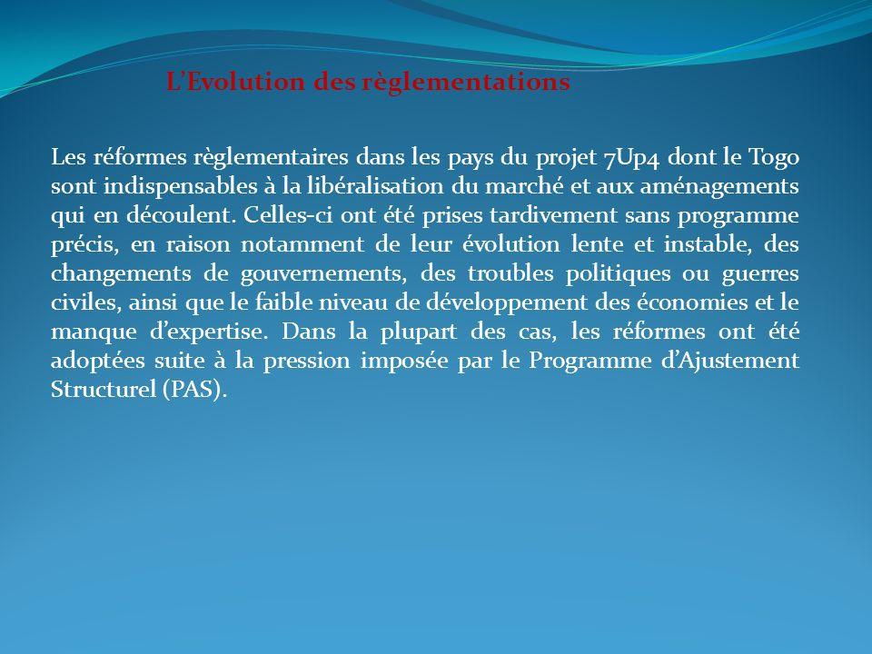 LEvolution des règlementations Les réformes règlementaires dans les pays du projet 7Up4 dont le Togo sont indispensables à la libéralisation du marché