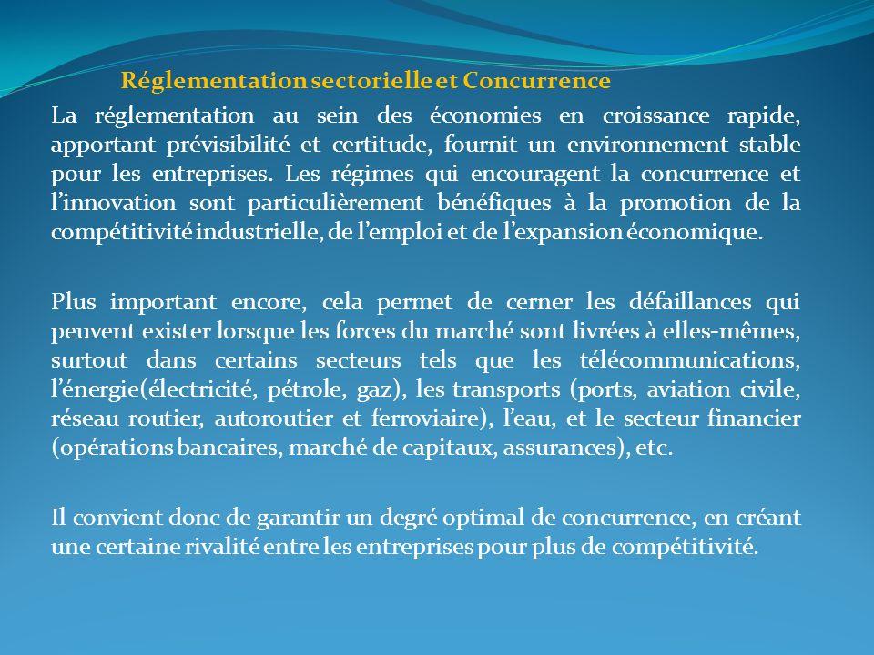 Réglementation sectorielle et Concurrence La réglementation au sein des économies en croissance rapide, apportant prévisibilité et certitude, fournit
