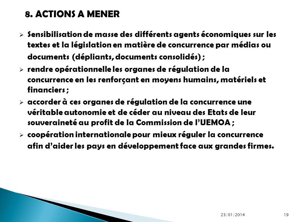 Sensibilisation de masse des différents agents économiques sur les textes et la législation en matière de concurrence par médias ou documents (déplian