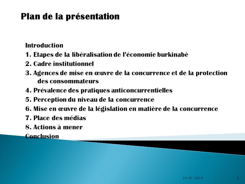 Introduction 1. Etapes de la libéralisation de léconomie burkinabè 2. Cadre institutionnel 3. Agences de mise en œuvre de la concurrence et de la prot