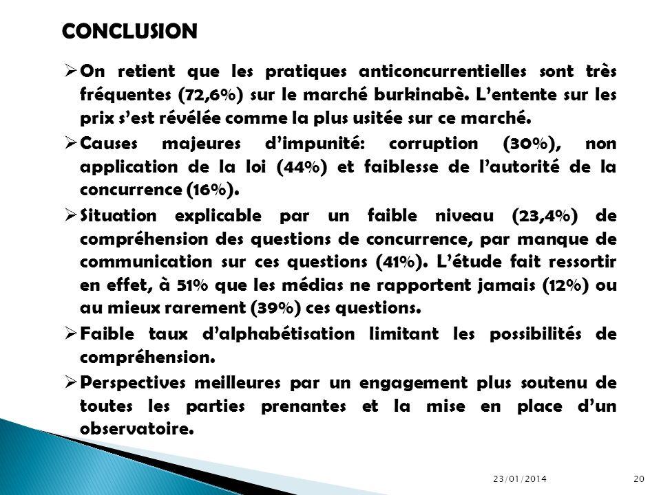 On retient que les pratiques anticoncurrentielles sont très fréquentes (72,6%) sur le marché burkinabè. Lentente sur les prix sest révélée comme la pl