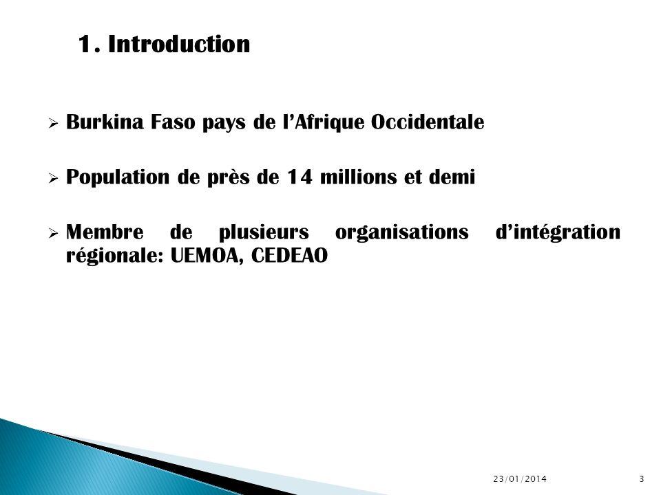 Burkina Faso pays de lAfrique Occidentale Population de près de 14 millions et demi Membre de plusieurs organisations dintégration régionale: UEMOA, C