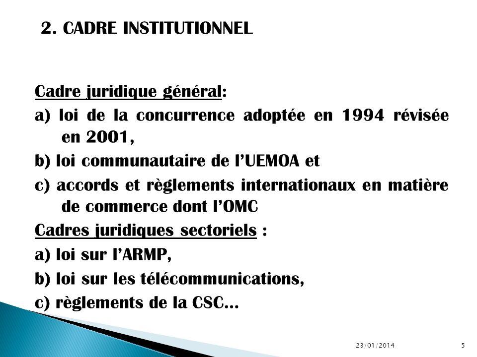 Cadre juridique général: a) loi de la concurrence adoptée en 1994 révisée en 2001, b) loi communautaire de lUEMOA et c) accords et règlements internat