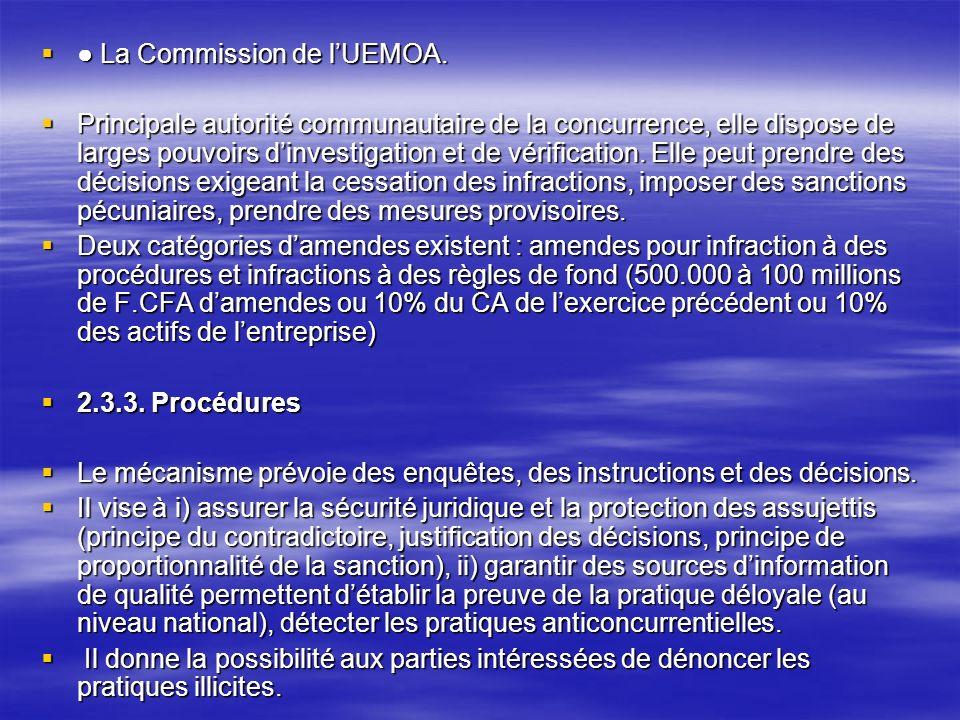 La Commission de lUEMOA. La Commission de lUEMOA. Principale autorité communautaire de la concurrence, elle dispose de larges pouvoirs dinvestigation