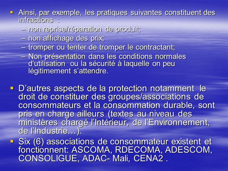 Ainsi, par exemple, les pratiques suivantes constituent des infractions : Ainsi, par exemple, les pratiques suivantes constituent des infractions : –n