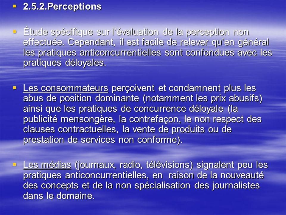 2.5.2.Perceptions 2.5.2.Perceptions Étude spécifique sur lévaluation de la perception non effectuée.