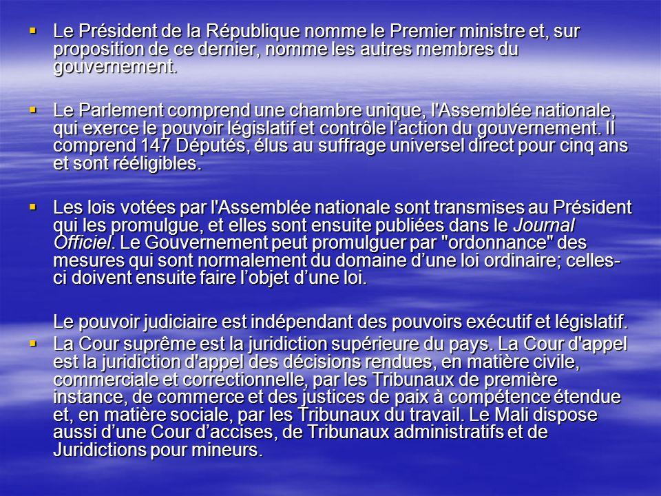 Le Président de la République nomme le Premier ministre et, sur proposition de ce dernier, nomme les autres membres du gouvernement. Le Président de l