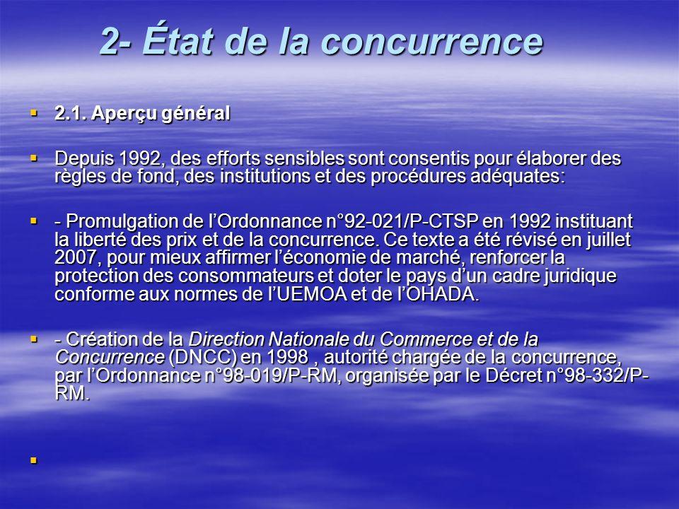 2- État de la concurrence 2.1. Aperçu général 2.1. Aperçu général Depuis 1992, des efforts sensibles sont consentis pour élaborer des règles de fond,
