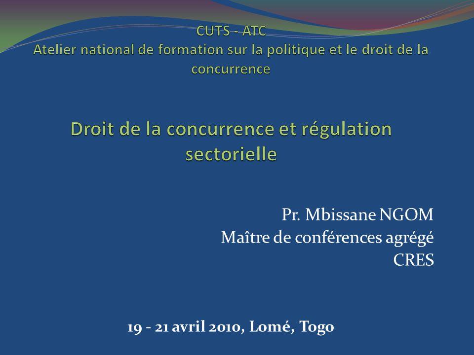Pr. Mbissane NGOM Maître de conférences agrégé CRES 19 - 21 avril 2010, Lomé, Togo