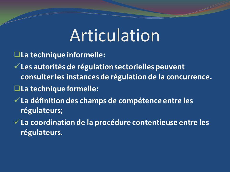 Articulation La technique informelle: Les autorités de régulation sectorielles peuvent consulter les instances de régulation de la concurrence.